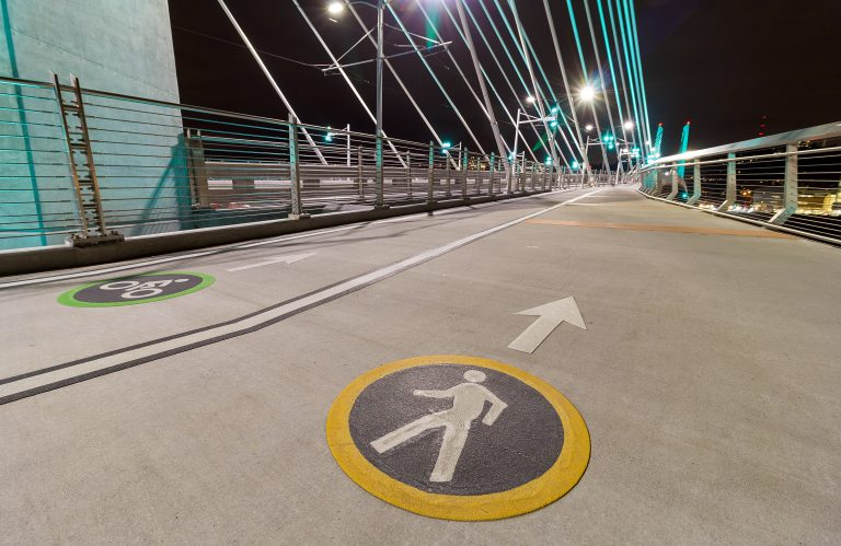 Bicycle Cyclist and Pedestrian Lane Signs on Tilikum Crossing