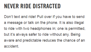 BIKETOWN's website's description of rules relating to headphones, which doesn't accurately represent Oregon bike law