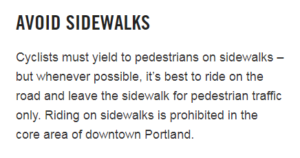 """BIKETOWN website text telling users to """"avoid sidewalks,"""" which doesn't accurately represent Oregon bike law"""