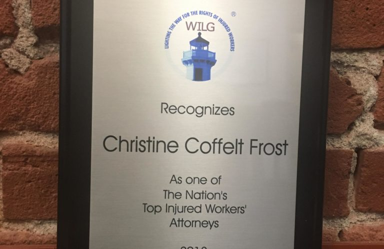 A WILG Award for Christine Frost recognizing her as one of the top injured workers' attorneys in 2018